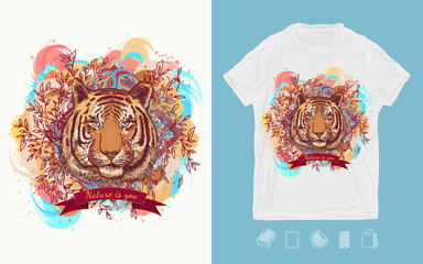 Tiger head, wild nature art. Print for t-shirts and another, trendy apparel design
