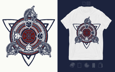 Celtic knot and dragons. Print for t-shirts and another, trendy apparel design. Helm of Awe, aegishjalmur