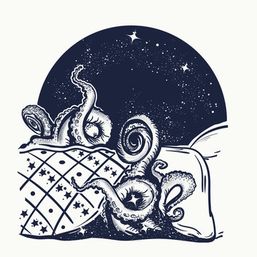 Monster under bed, children fears concept. Tattoo and t-shirt design. Sleep disorder symbol, psychological problems, nightmare, insomnia
