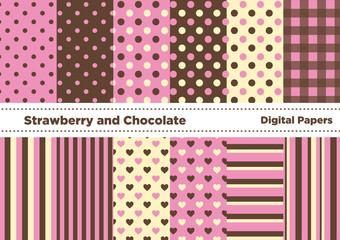 チョコとイチゴの色の壁紙セット