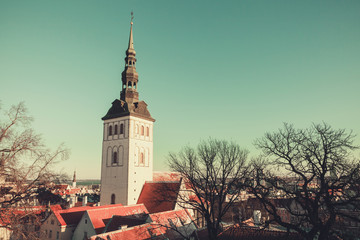 Old town of Tallinn, Estonia. Vintage photo