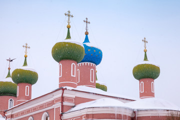 Domes of the Cathedral in Tikhvin, Russia