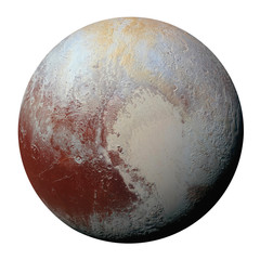 Full disk of planet Pluto globe from space isolated on white background. Elements of this image furnished by NASA.
