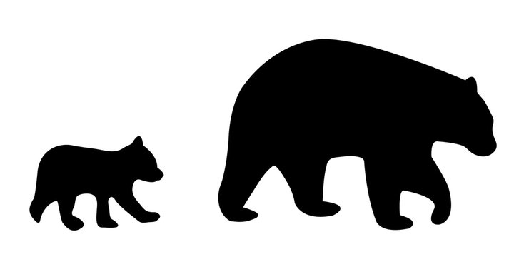 Vector illustration of a silhouetted mother bear and cub