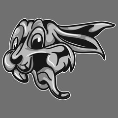 silver rabbit head mascot