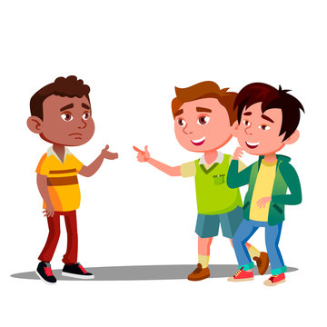 Child Racism, Two White Boys Laughing At Afro American Kid Vector. Isolated Illustration