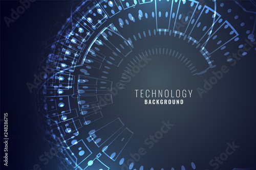 """Technology Background With Circular Mesh: """"technology Digital Background With Circular Mesh Circuit"""
