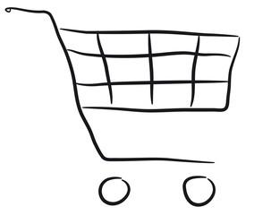 wózek sklepowy na białym tle - fototapety na wymiar