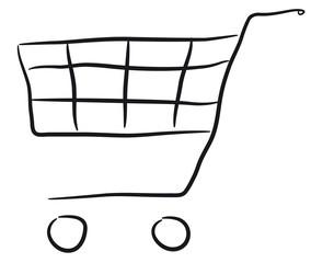 Fototapeta wózek sklep białe tło obraz