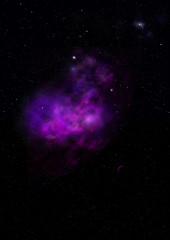 Star field in space and a nebulae. 3D rendering