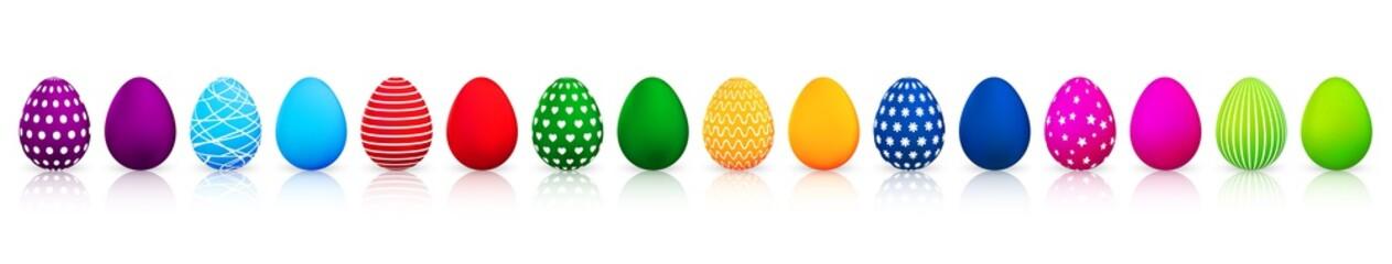 Colorful Easter eggs set on white background. Vector illustration
