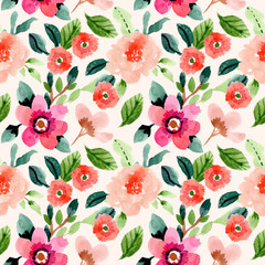 spring floral watercolor seamless pattern