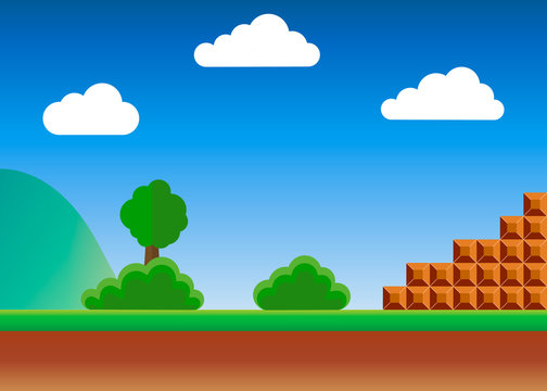 Old video game. retro style Background. Vector illustration.