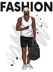 A handsome guy in shorts and a T-shirt. A sporty man in summer clothes. Vector illustration for a postcard or a poster.