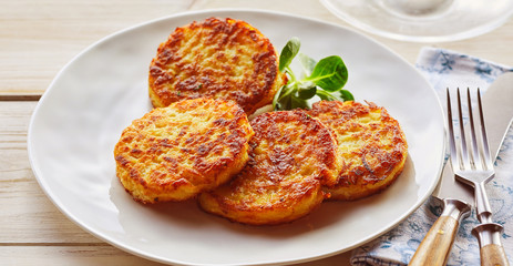 Plate of crispy golden fried potato fritters