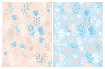 Hand Drawn Cute Floral Vector Patterns Set. Ligh Blue and Salmon Pink Backgrounds. Bright Pastel Colors Design. Salmon Pink, Blue and White Flowers, Leaves and Twigs. Lovely Infantile Style Art.