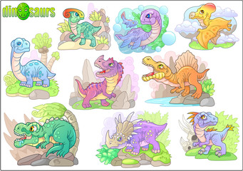 cute cartoon prehistoric dinosaurs, set of funny images
