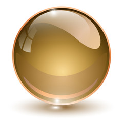 Glass sphere, brown 3D vector ball.