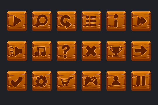 Vector game ui kit. Set of cartoon wooden square buttons for graphical user interface GUI and 2D games.