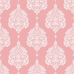 Pink and white damask vector seamless pattern, wallpaper. Elegant classic texture. Luxury ornament. Royal, Victorian, Baroque elements. Great for fabric and textile, wallpaper, or any desired idea
