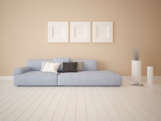 Mock up fashionable living room with a stylish comfortable sofa and an original background.