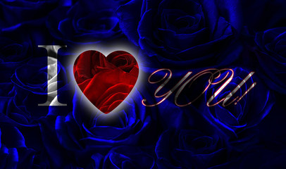 blue black roses with red heart.I love you.