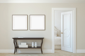 Interior and frame mockup.3d rendering.