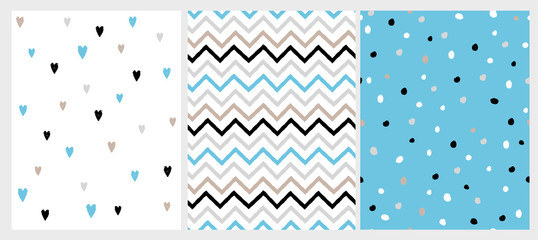 Funny Bright Hand Drawn Chevron, Hearts and Dots Vector Patterns. Irregular Dot Shape Confetti Design. Grey, Black and Blue Chevron Pattern. Cute Hearts on a White. Lovely Infantile Style Art.