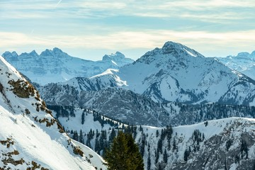 Landscape of Alps mountains in winter