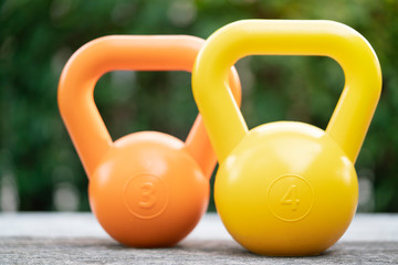 close up of kettlebells on the table, sport and exercise equipment for the training classroom concept