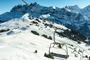 Cable car with Alps mountains in winter