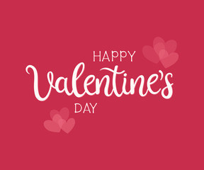 Happy Valentines Day typography poster with handwritten calligraphy text and hearts, isolated on red background.