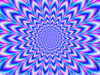 Crinkle Cut Pulse in Blue Pink and Violet / A digital abstract fractal image with an optically challenging psychedelic design in blue, pink and violet,