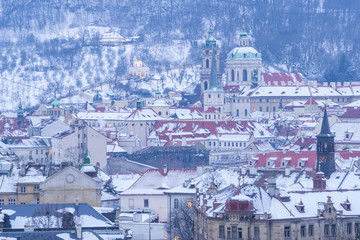 Fototapete - Prague in Winter, Cityscape of Mala Strana district