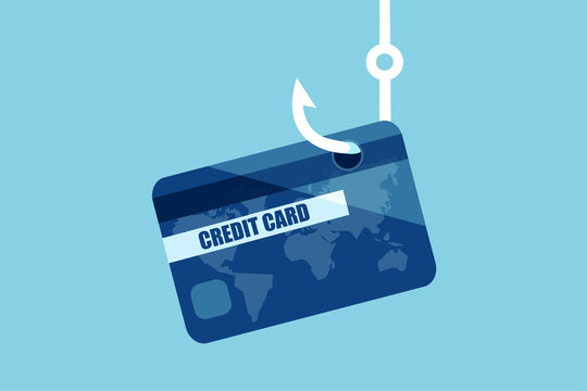 Vector of a credit or debit bank card on a fishing hook.