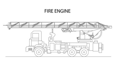 Classic cartoon hand drawn detailed fire engine / fire truck, profile view. Vector illustration