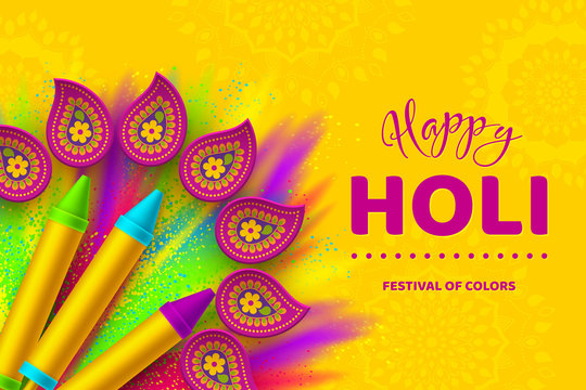 Happy Holi colorful banner for Festival of Colors.