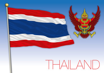 Thailand coat of arms and national flag
