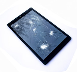 Shattered Broken iPad Tablet Screen On White Background
