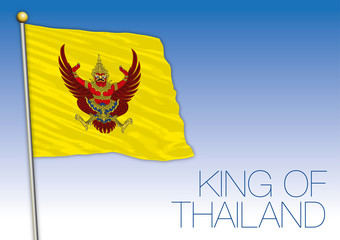 King of Thailand coat of arms and national flag