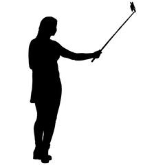Silhouettes woman taking selfie with smartphone on white background