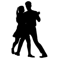 Black silhouettes dancing man and woman on white background