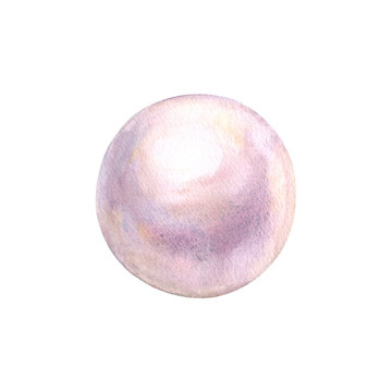 Pearl watercolor shiny natural sea nacreous isolated on white background.