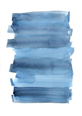 Abstract grey and indigo blue color field  watercolor hand painting on white paper for decoration on artwork advertising