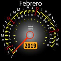 2019 year calendar speedometer car in Spanish February