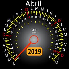 2019 year calendar speedometer car in Spanish April