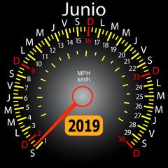 2019 year calendar speedometer car in Spanish June
