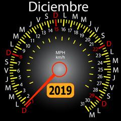 2019 year calendar speedometer car in Spanish December
