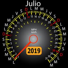 2019 year calendar speedometer car in Spanish July