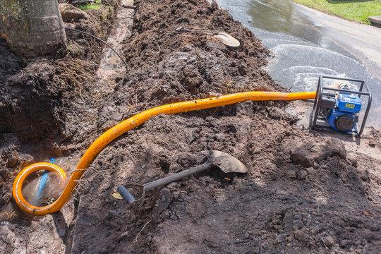 Plumbing Water Pipe Repairs Mobile Portable Pump Earthworks